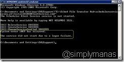 logon failed due to missing ntrights